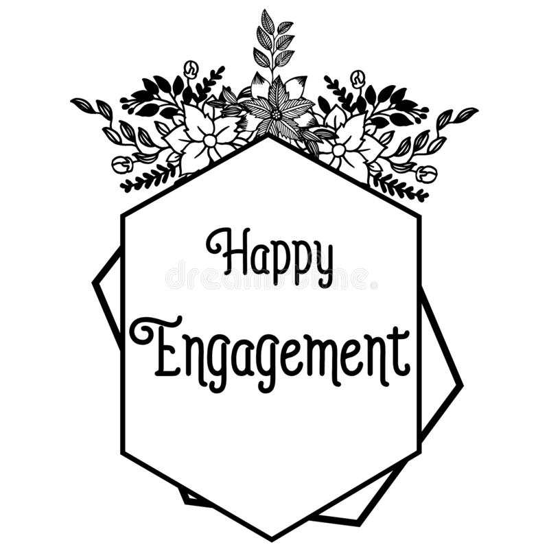 Illustration de vecteur fleurie de l'engagement heureux avec le cadre de fleur de dessin illustration stock