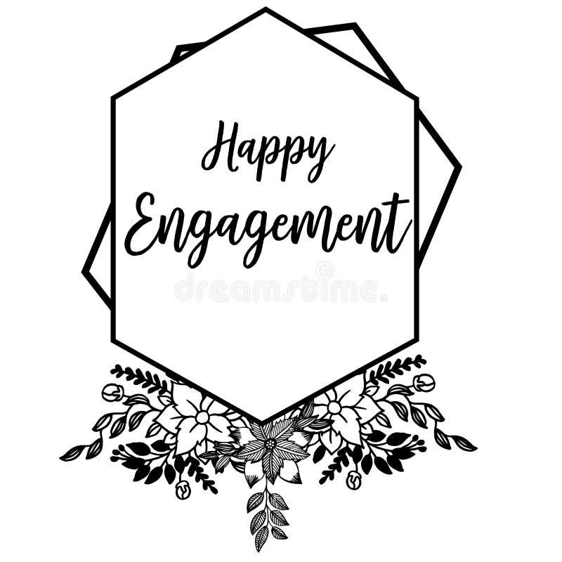 Illustration de vecteur fleurie de l'engagement heureux avec le cadre de fleur de dessin illustration de vecteur