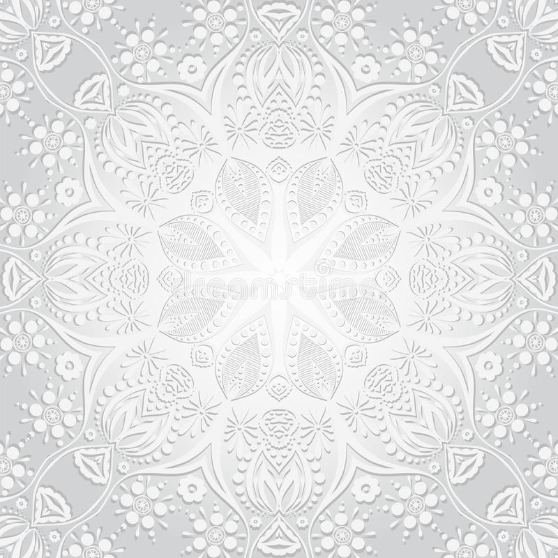 Illustration de vecteur Fond de circulaire de fleur Un dessin stylisé mandala Ornement stylisé de dentelle Ornement floral indien illustration stock