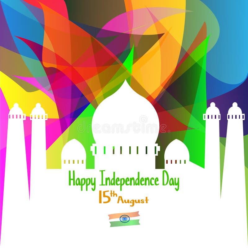 Illustration de vecteur Fond indien créatif de couleur de drapeau national avec la roue d'Ashoka le 15ème août pour le Jour de la illustration libre de droits