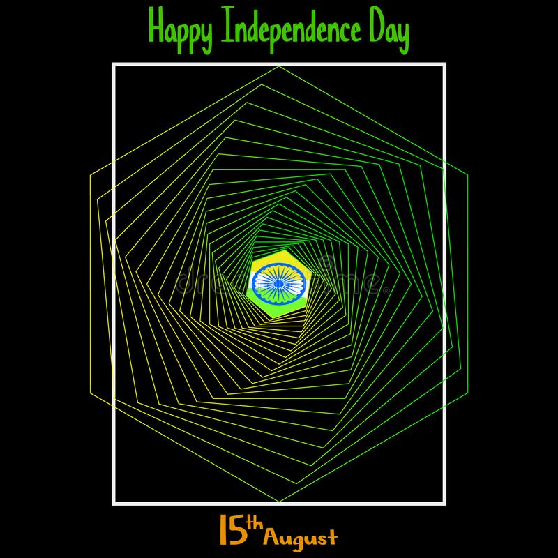 Illustration de vecteur Fond indien créatif de couleur de drapeau national avec la roue d'Ashoka le 15ème août pour le Jour de la illustration stock