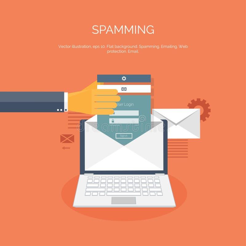Illustration de vecteur Fond plat de Spamming spam Email Télécommunication mondiale et réseau social illustration de vecteur