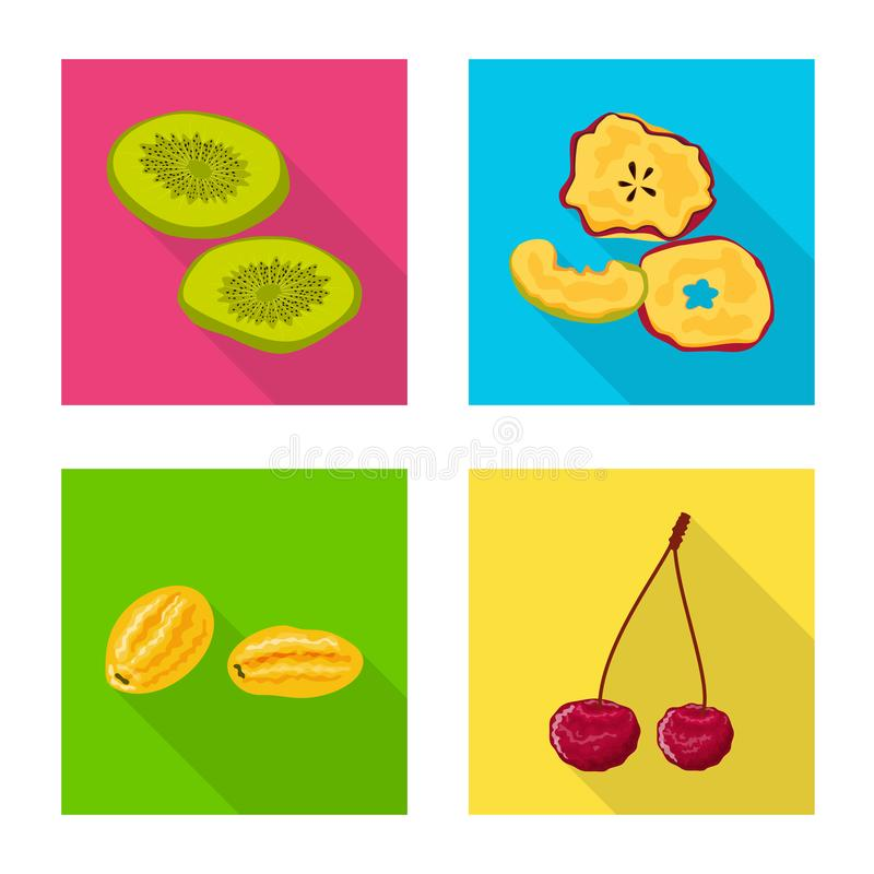 Illustration de vecteur de fruit et d'ic?ne s?che Placez de l'ic?ne de vecteur de fruit et de nourriture pour des actions illustration stock