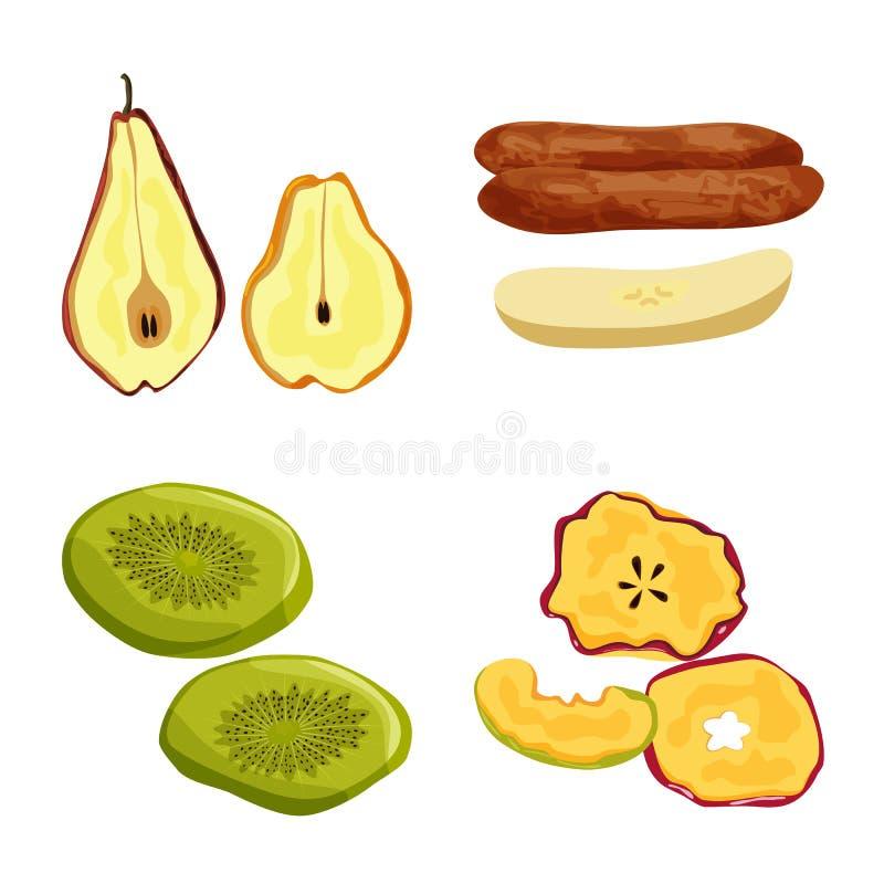 Illustration de vecteur de fruit et de logo sec Placez du symbole boursier de fruit et de nourriture pour le Web illustration de vecteur