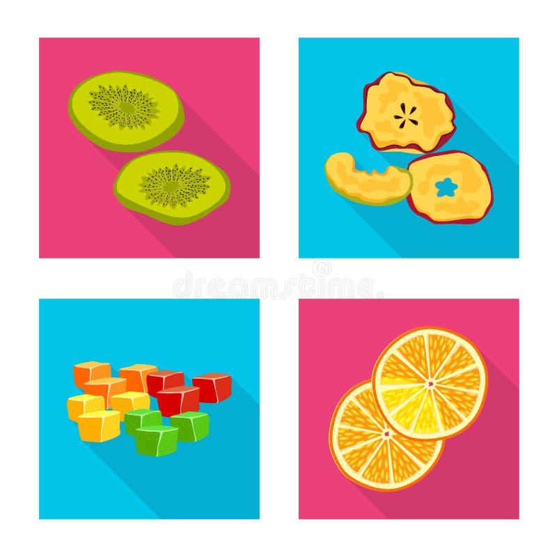 Illustration de vecteur de fruit et de signe sec Placez du symbole boursier de fruit et de nourriture pour le Web illustration libre de droits