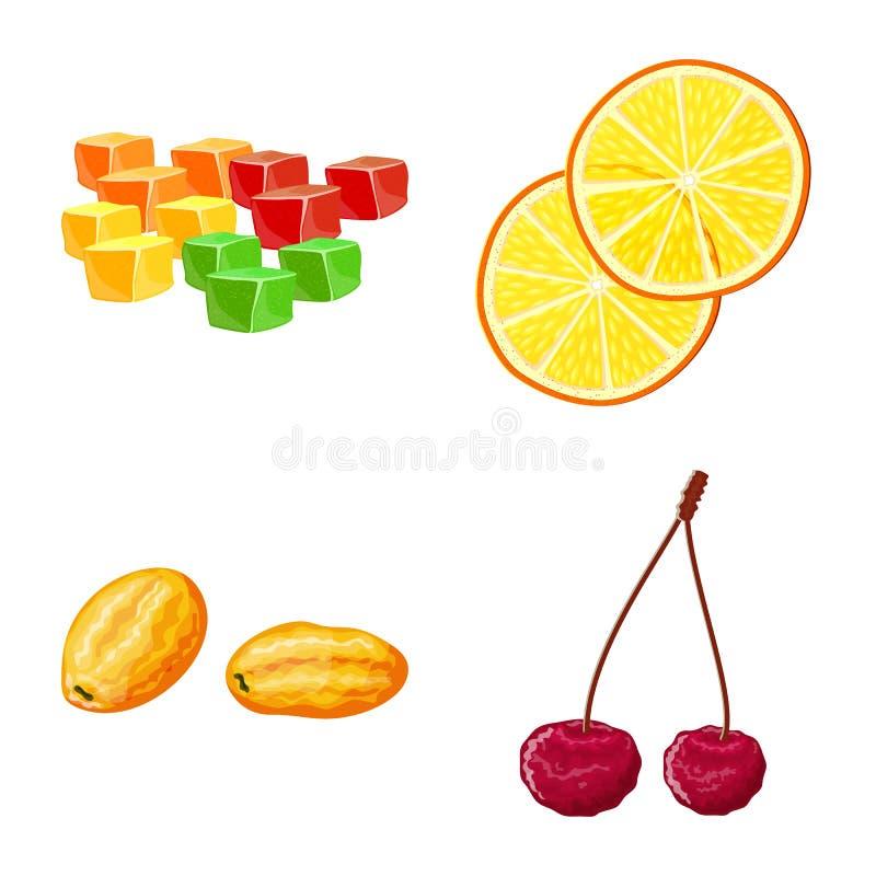 Illustration de vecteur de fruit et de symbole sec Placez du symbole boursier de fruit et de nourriture pour le Web illustration de vecteur