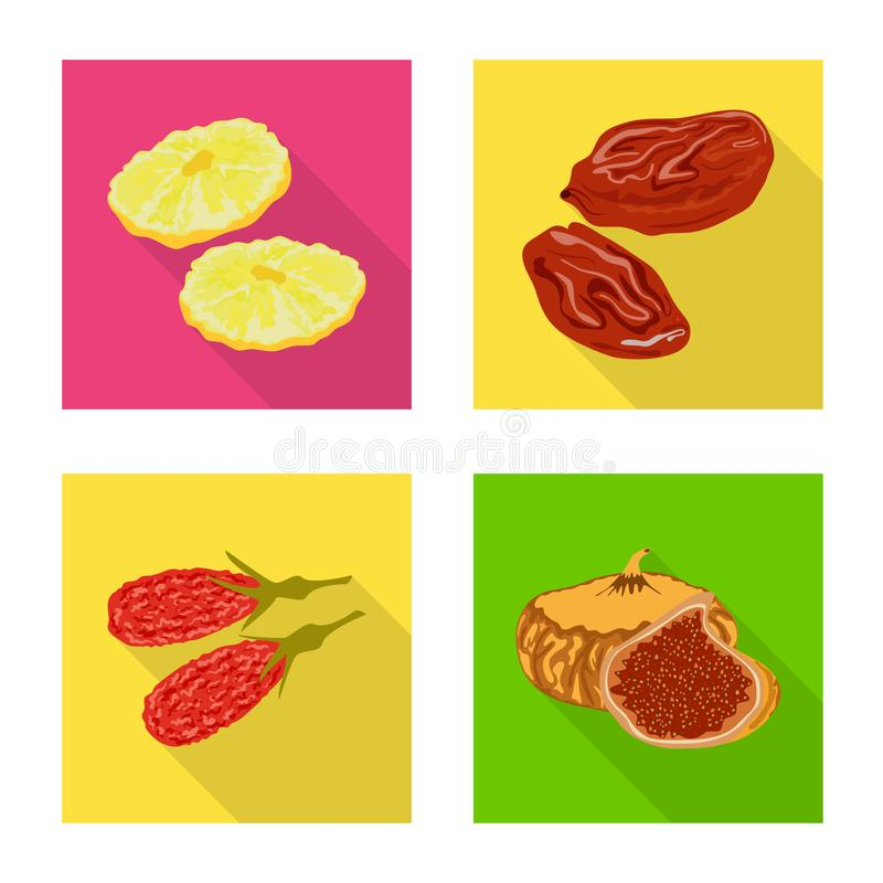 Illustration de vecteur de fruit et de symbole sec Placez de l'ic?ne de vecteur de fruit et de nourriture pour des actions illustration libre de droits