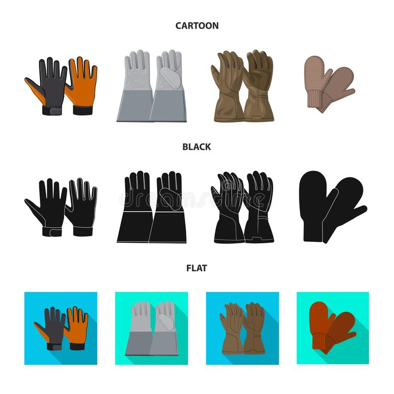 Illustration de vecteur de gant et de logo d'hiver Collection de l'illustration courante de vecteur de gant et d'?quipement illustration stock