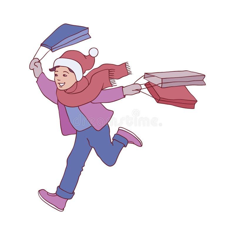 Illustration de vecteur de garçon d'enfant dans des vêtements d'hiver fonctionnant avec des sacs à provisions dans le style de cr illustration de vecteur