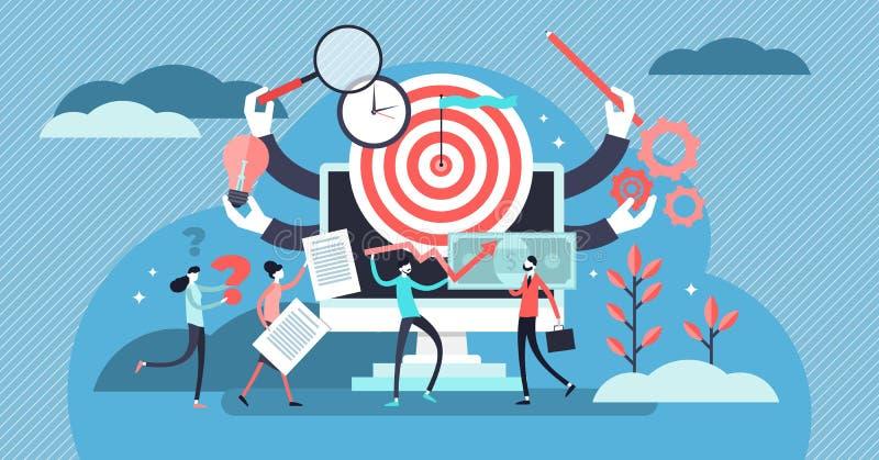 Illustration de vecteur de gestion des projets Concept minuscule plat de personnes de travail d'équipe illustration libre de droits