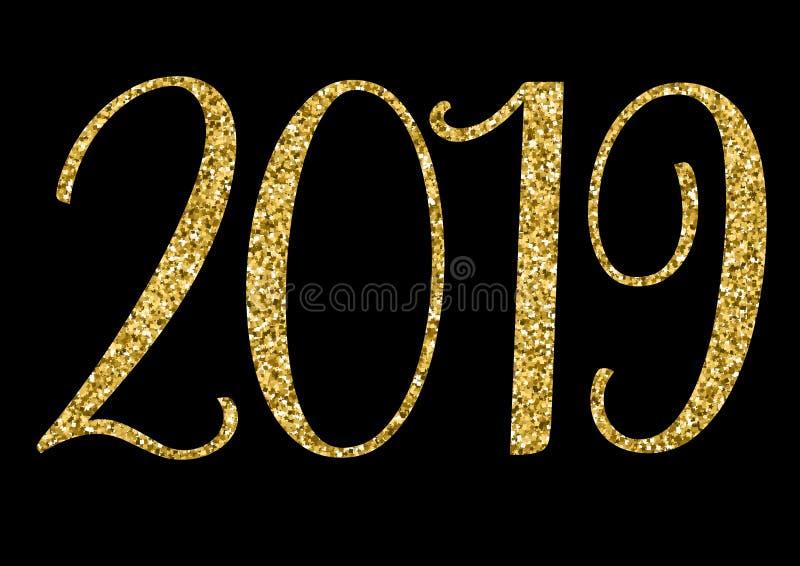 Illustration 2019 de vecteur de giltter d'or de nouvelle année illustration stock