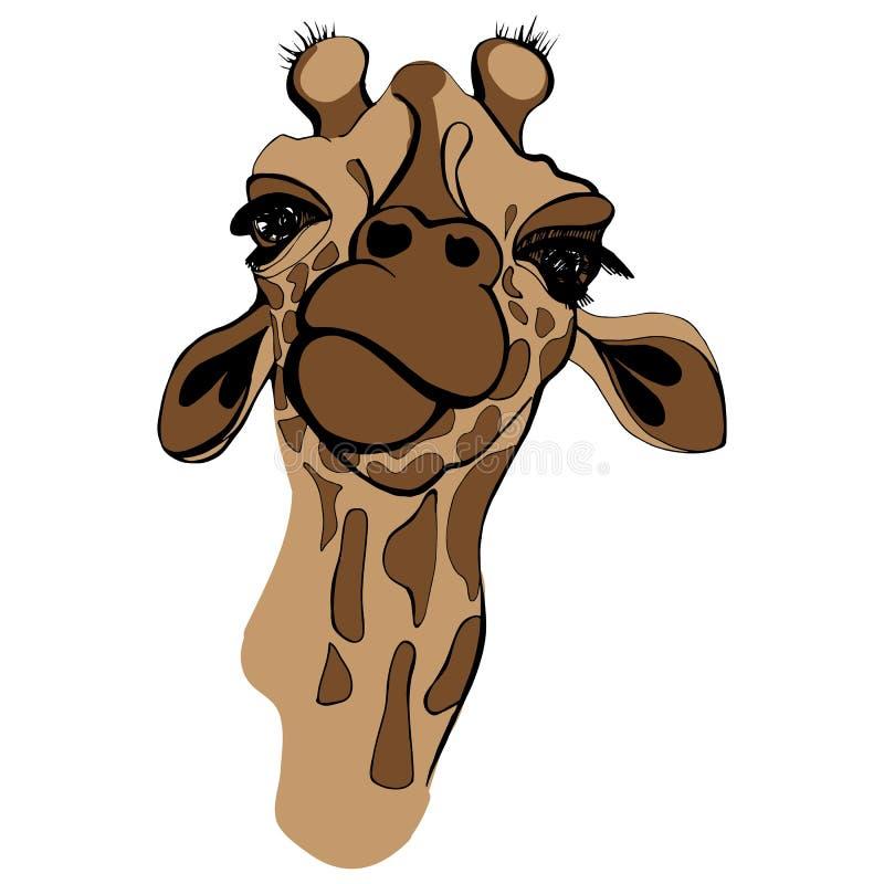 Illustration de vecteur de girafe pour le T-shirt Portrait de girafe de safari en verres drôles illustration libre de droits