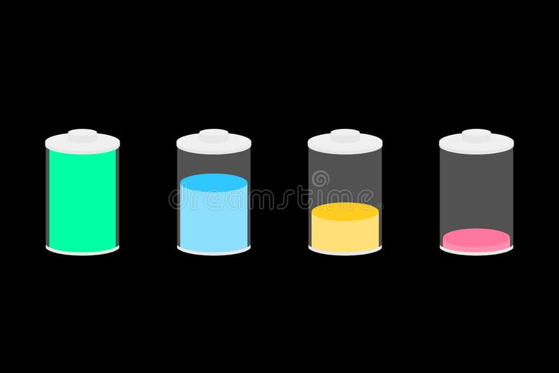 Illustration de vecteur graphismes de batterie r?gl?s illustration stock