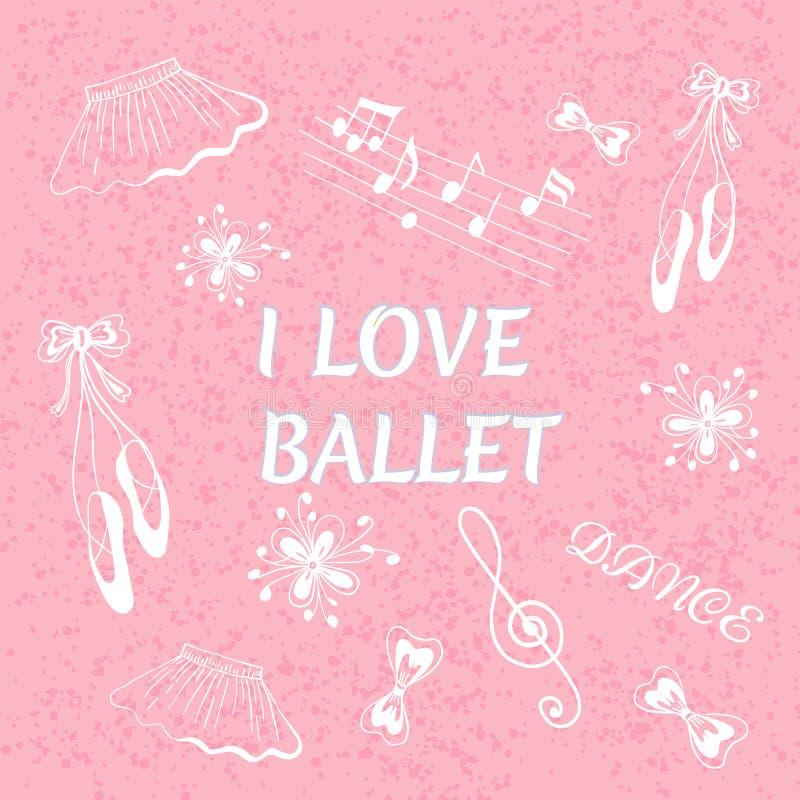 Illustration de vecteur de griffonnage de ballet J'aime le ballet images stock