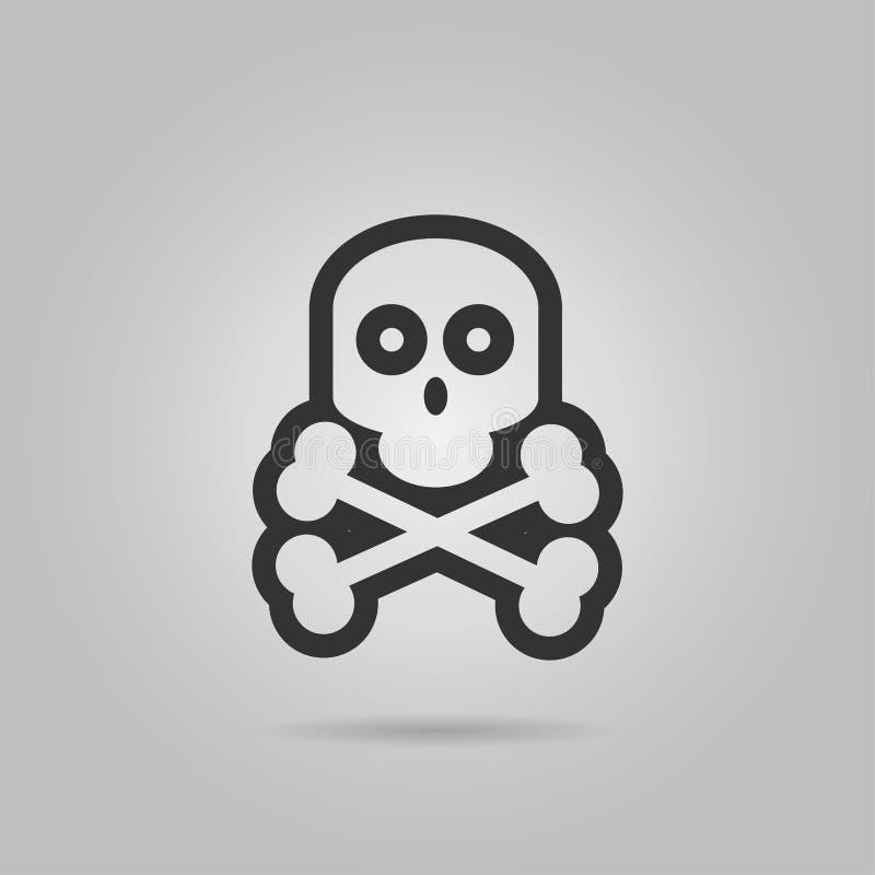 Illustration de vecteur Griffonnage tiré par la main de crâne humain avec un sourire terrible Symbole du danger et de la mort Cro illustration stock