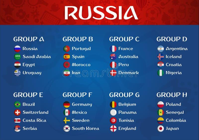 Illustration de vecteur de groupes de pays de championnat du football de la Russie illustration stock