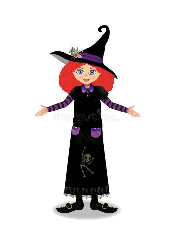 Illustration de vecteur de Halloween de jeune fille de sorcière avec des cheveux de gingembre sur le fond blanc illustration de vecteur