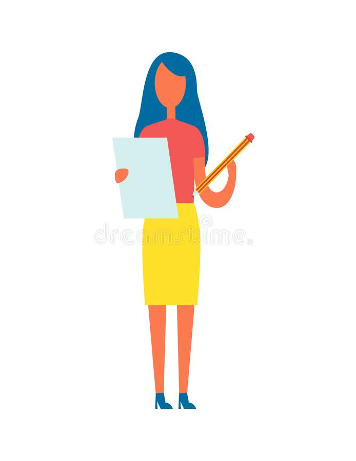Illustration de vecteur de Holding Article Pencil de rédacteur illustration de vecteur
