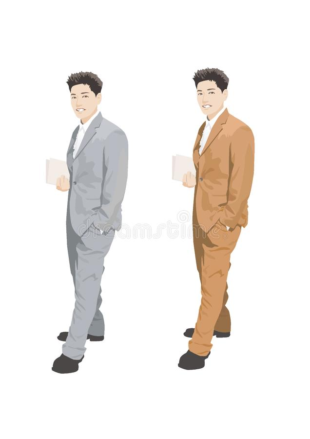 Illustration de vecteur : illustration, homme asiatique portant dans différents costumes illustration libre de droits