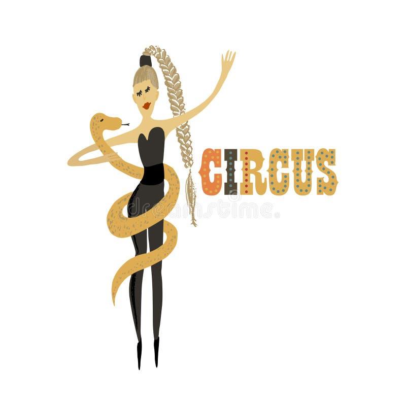 Illustration de vecteur Imitation tirée par la main Humain et animaux Fille avec le serpent Représentation de cirque illustration stock