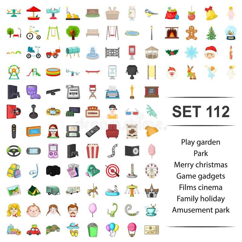 Illustration de vecteur de jeu, jardin, parc, joyeux, Noël, ensemble d'icône d'amusement de vacances de famille de cinéma de film illustration de vecteur