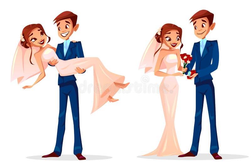 Illustration de vecteur de jeune mariée et de jeune marié de mariage de couples illustration de vecteur