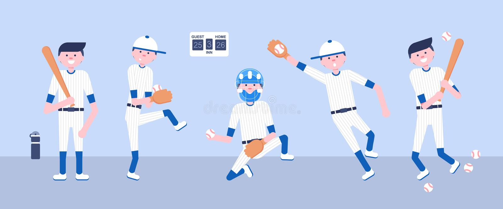 Illustration de vecteur Joueurs de bande dessinée de base-ball illustration stock