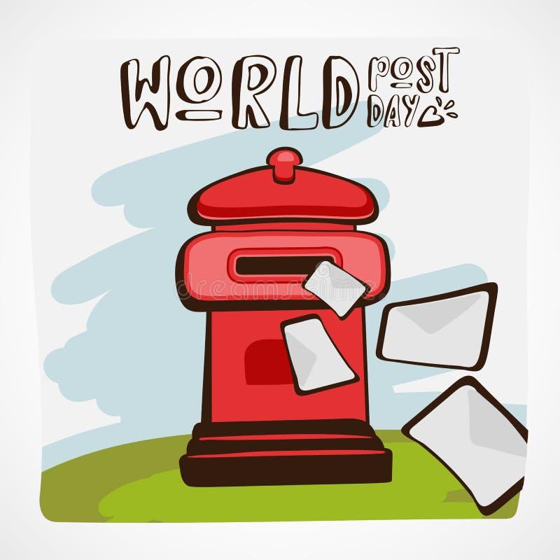 Illustration de vecteur de jour de courrier de mots Boîte aux lettres rouge avec des lettres volant dedans ou loin sur l'herbe ve illustration de vecteur