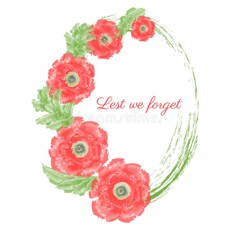 Illustration de vecteur de jour d'Anzac d'une fleur lumineuse de rouge de pavot illustration libre de droits