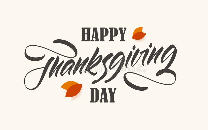 Illustration de vecteur : Jour heureux de thanksgiving Carte de voeux avec des feuilles de chute d'automne illustration de vecteur