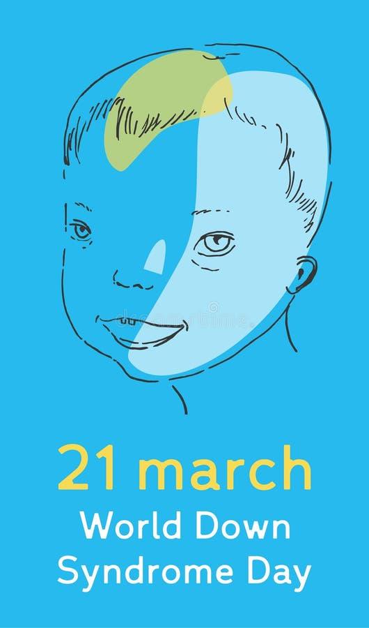Illustration de vecteur de jour de trisomie 21 avec la tête du ` s de garçon sur le fond bleu illustration libre de droits