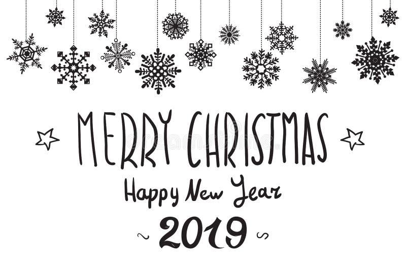 Illustration de vecteur Joyeux Noël et bonne année Fond 2019 de Noël avec les flocons de neige brillants d'or Carte de voeux, vac illustration de vecteur