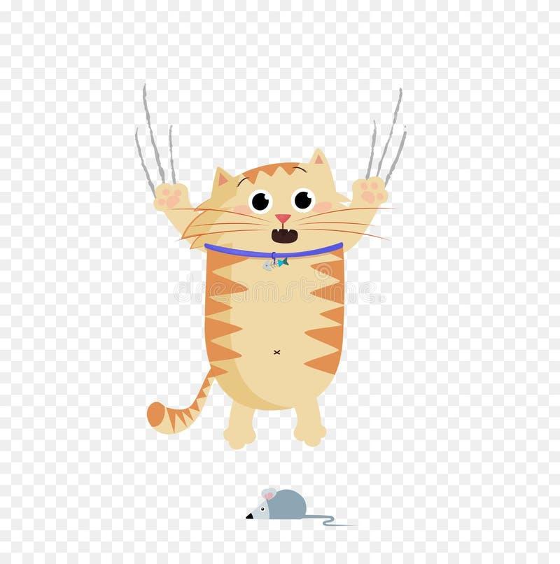 Illustration de vecteur de l'évasion mignonne de caractère de chat de gingembre de bande dessinée de la souris illustration de vecteur