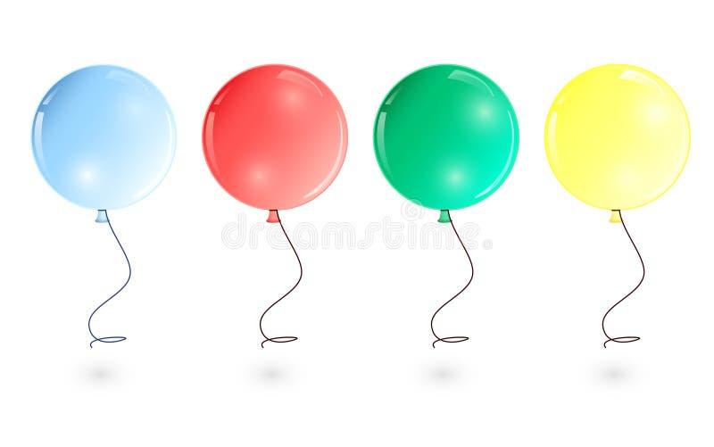 Illustration de vecteur : l'ensemble de vol coloré rond monte en ballon sur des rubans photo stock