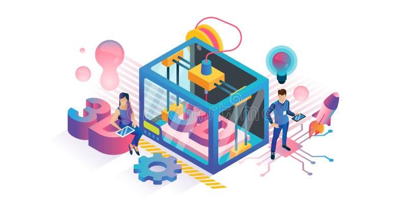 illustration de vecteur de l'impression 3D Concept en plastique isométrique de technologie du produit DIY illustration de vecteur