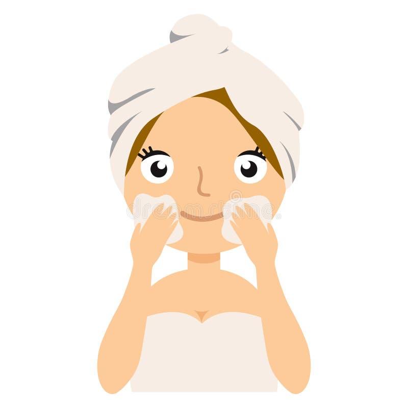 Illustration de vecteur La belle fille inflige une crème sur le visage Beauté, concept de soin de corps illustration libre de droits