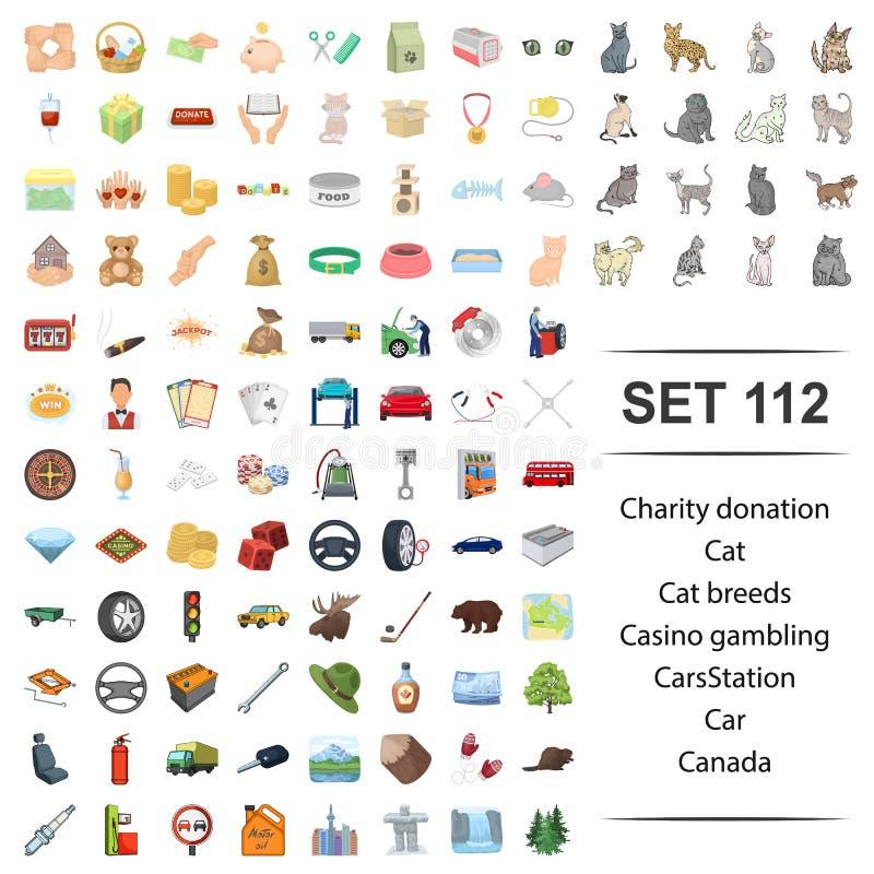 Illustration de vecteur de la charité, donation, chat, races, ensemble de jeu d'icône du Canada de station de voiture de casino illustration stock