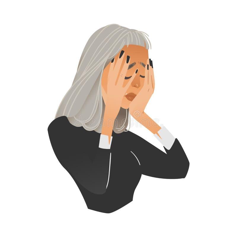 Illustration de vecteur de la femme soucieuse ayant l'expression ou le mal de tête soumise à une contrainte frustrante de négatif illustration de vecteur