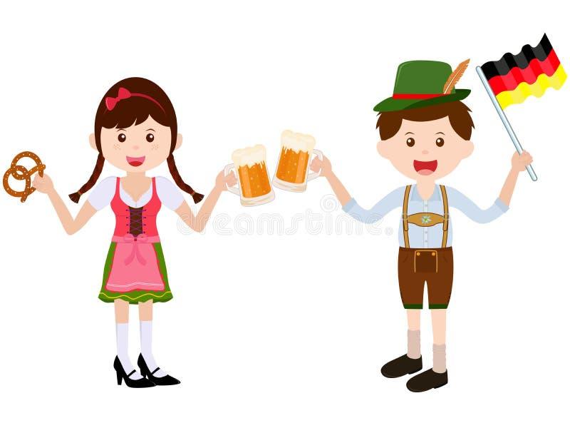 Illustration de vecteur de la fille mignonne de bande dessinée portant la robe allemande de Dirndl, garçon avec les Lederhosen en illustration de vecteur