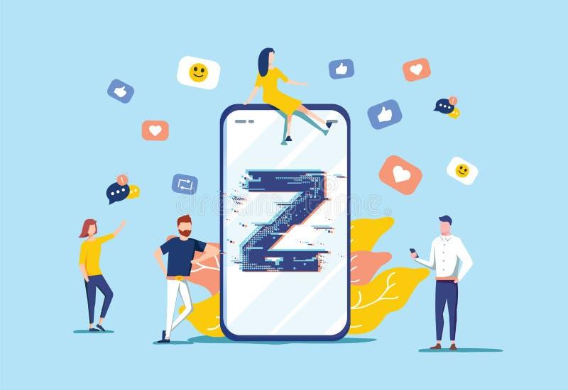 Illustration de vecteur de la génération Z Concept minuscule virtuel plat de transmission de messages de personnes Nouvelle et mo illustration stock