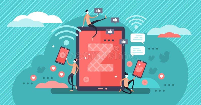 Illustration de vecteur de la génération Z Concept minuscule virtuel de transmission de messages de personnes illustration stock