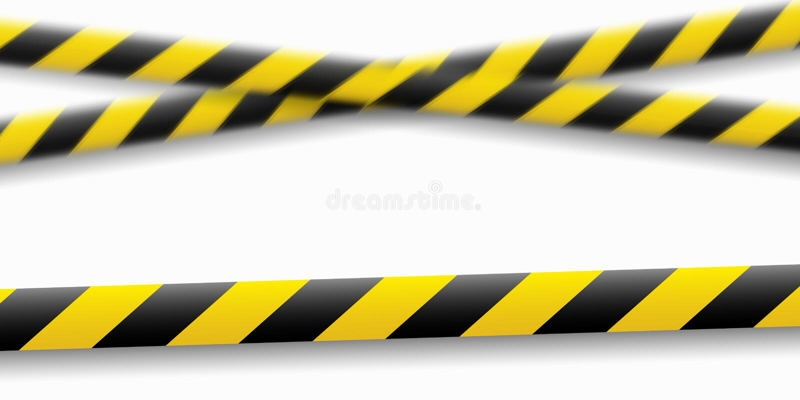 Illustration de vecteur de la ligne d'attention Dispositifs avertisseurs de police noire jaune, clôturant Signe de danger Ne croi illustration de vecteur
