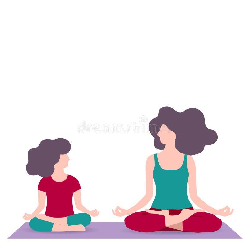 Illustration de vecteur de la maman et de la fille s'asseyant avec la pose de Lotus, peu de fille et la jeune femme faisant le yo illustration libre de droits