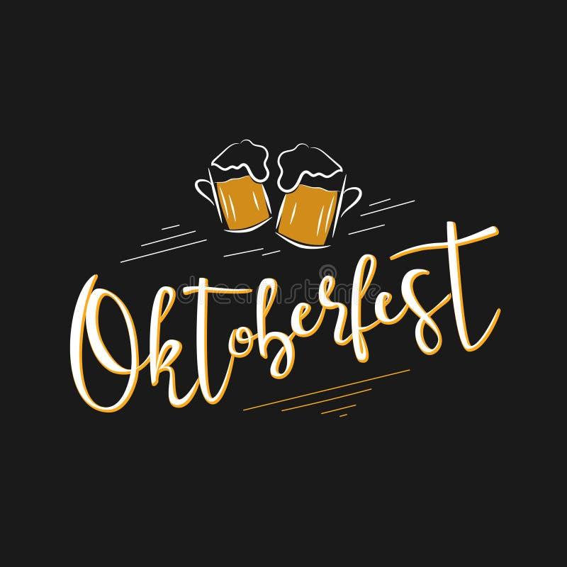 Illustration de vecteur de label d'Oktoberfest Conception de célébration d'Oktoberfest sur le fond noir images libres de droits