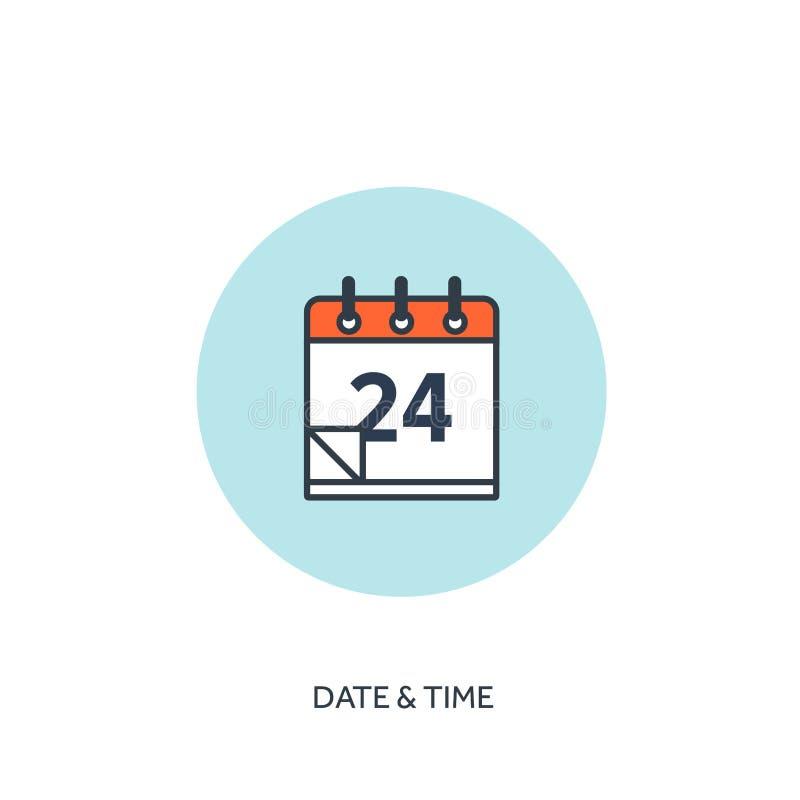 Illustration de vecteur Le calendrier a rayé l'icône Date-heure Planification de vacances illustration libre de droits
