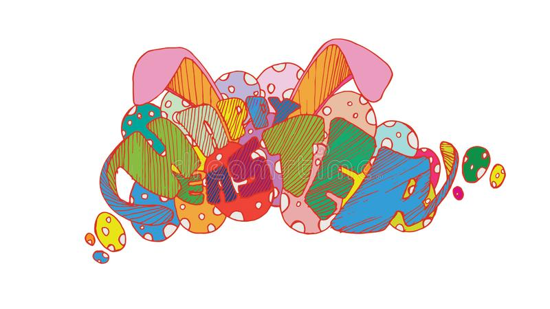Illustration de vecteur Lettrage coloré moderne élégant tiré par la main heureux de Pâques d'isolement sur le fond - Le fichier d illustration de vecteur