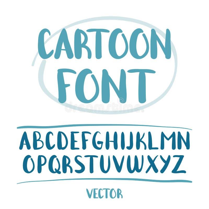 Illustration de vecteur : Lettres tirées par la main d'alphabet de bande dessinée d'isolement sur le fond blanc illustration stock