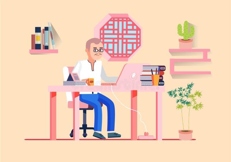 Illustration de vecteur de lieu de travail d'hommes de local commercial illustration de vecteur