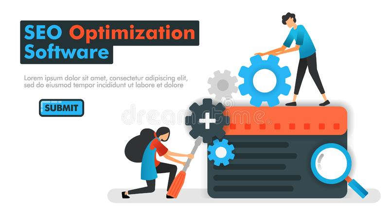 Illustration de vecteur de logiciel d'optimisation de SEO les programmeurs font des résultats de moteur de recherche d'entretien  illustration de vecteur