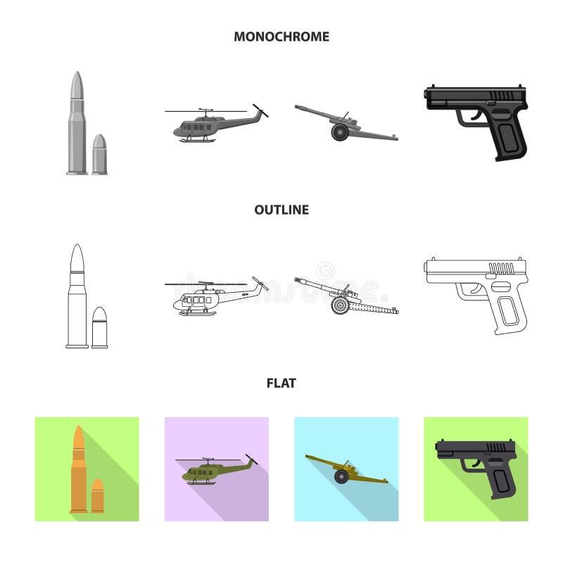 Illustration de vecteur de logo d'arme et d'arme à feu Ensemble de symbole boursier d'arme et d'armée pour le Web illustration libre de droits